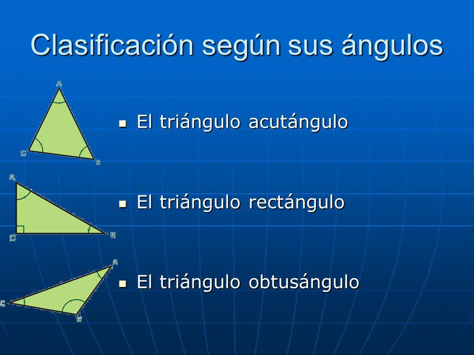 Clasificación según sus ángulos El triángulo acutángulo El triángulo acutángulo El triángulo rectángulo El triángulo rectángulo El triángulo obtusángu
