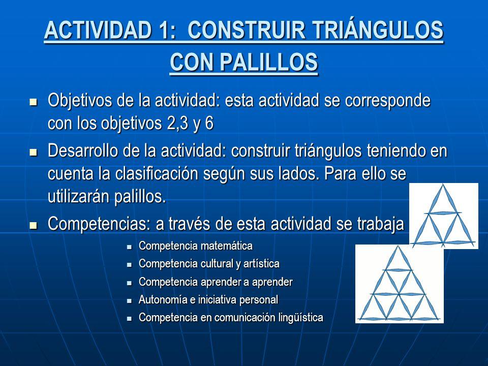 ACTIVIDAD 1: CONSTRUIR TRIÁNGULOS CON PALILLOS Objetivos de la actividad: esta actividad se corresponde con los objetivos 2,3 y 6 Objetivos de la acti