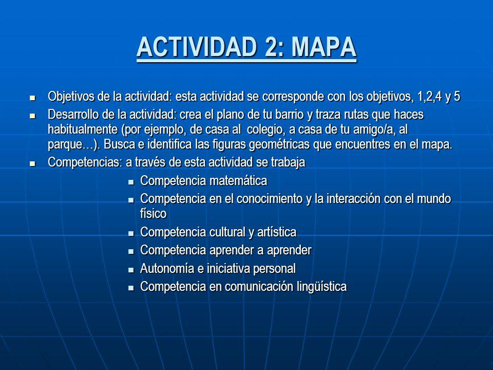 ACTIVIDAD 2: MAPA Objetivos de la actividad: esta actividad se corresponde con los objetivos, 1,2,4 y 5 Objetivos de la actividad: esta actividad se c