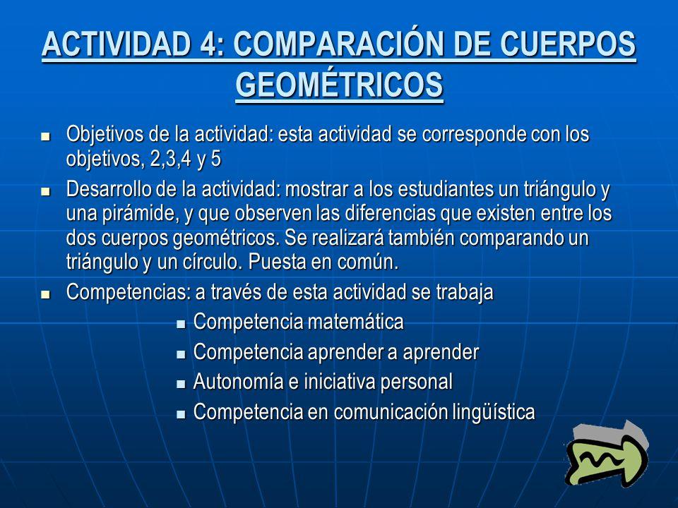 ACTIVIDAD 4: COMPARACIÓN DE CUERPOS GEOMÉTRICOS Objetivos de la actividad: esta actividad se corresponde con los objetivos, 2,3,4 y 5 Objetivos de la