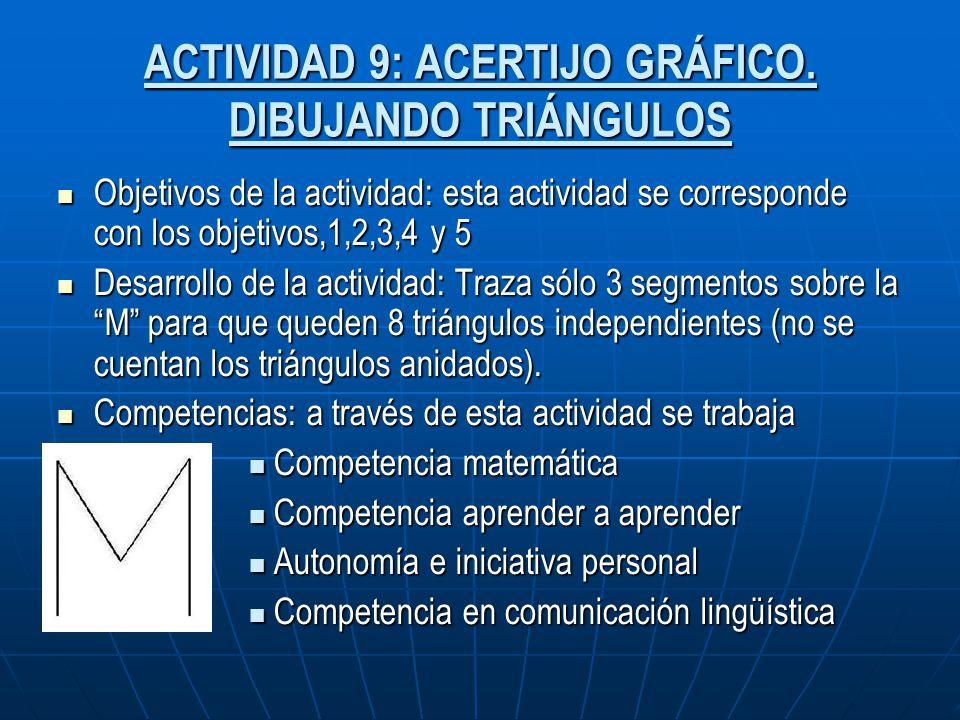 ACTIVIDAD 9: ACERTIJO GRÁFICO. DIBUJANDO TRIÁNGULOS Objetivos de la actividad: esta actividad se corresponde con los objetivos,1,2,3,4 y 5 Objetivos d