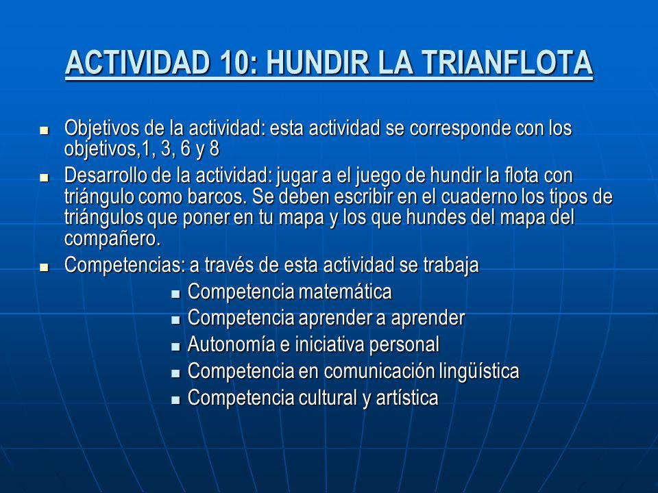 ACTIVIDAD 10: HUNDIR LA TRIANFLOTA Objetivos de la actividad: esta actividad se corresponde con los objetivos,1, 3, 6 y 8 Objetivos de la actividad: e