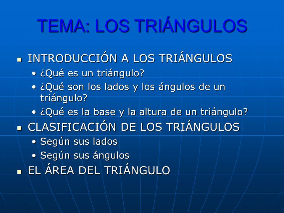 INTRODUCCIÓN A LOS TRIÁNGULOS INTRODUCCIÓN A LOS TRIÁNGULOS ¿Qué es un triángulo?¿Qué es un triángulo? ¿Qué son los lados y los ángulos de un triángul