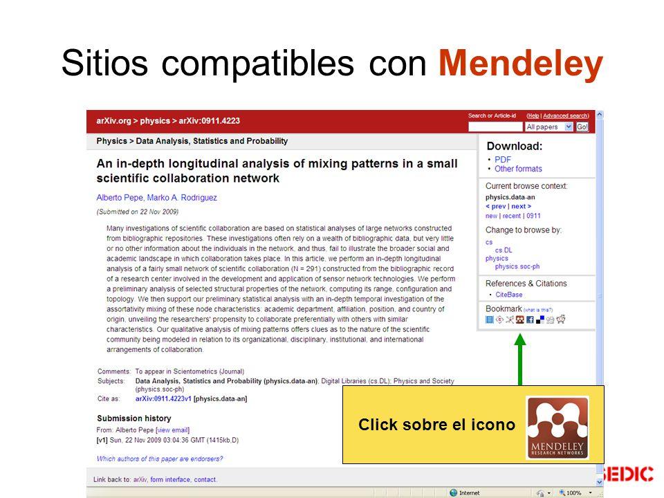 Sitios compatibles con Mendeley Click sobre el icono