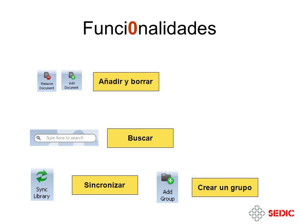 Funci0nalidades Crear un grupo Sincronizar Buscar Añadir y borrar