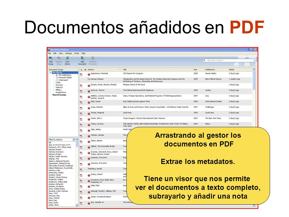 Documentos añadidos en PDF Arrastrando al gestor los documentos en PDF Extrae los metadatos.