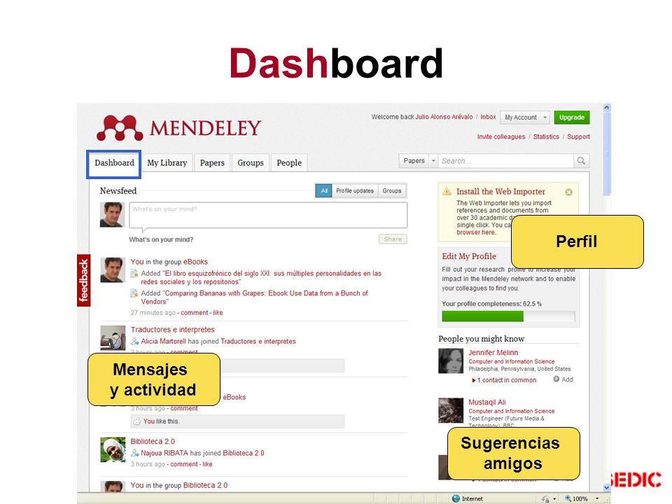 Dashboard Mensajes y actividad Perfil Sugerencias amigos