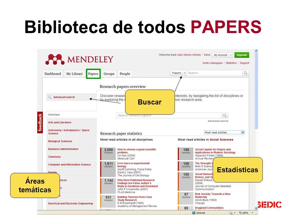 Biblioteca de todos PAPERS Estadísticas Áreas temáticas Buscar