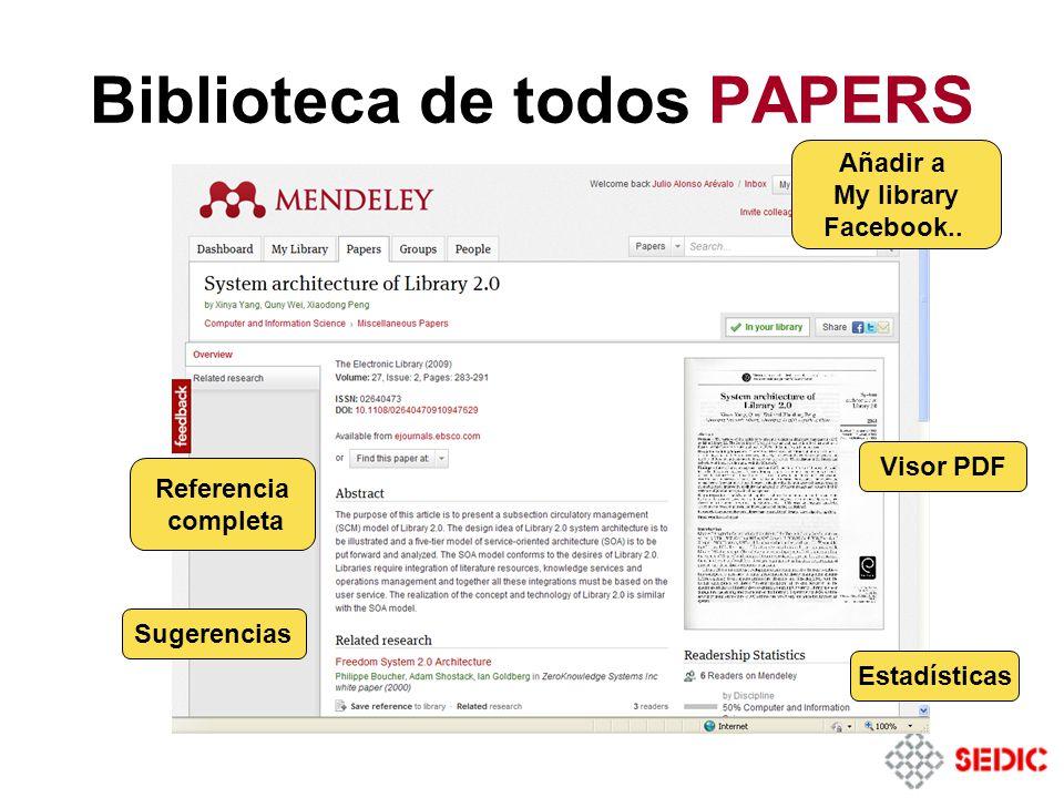Biblioteca de todos PAPERS Estadísticas Visor PDF Referencia completa Sugerencias Añadir a My library Facebook..