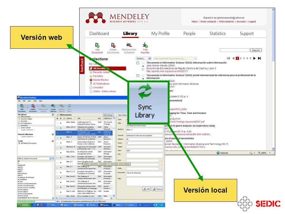 Versión local Versión web