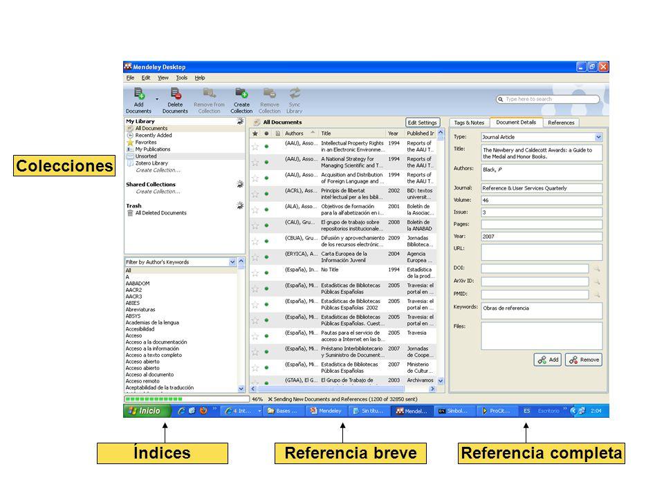 Índices Colecciones Referencia breveReferencia completa