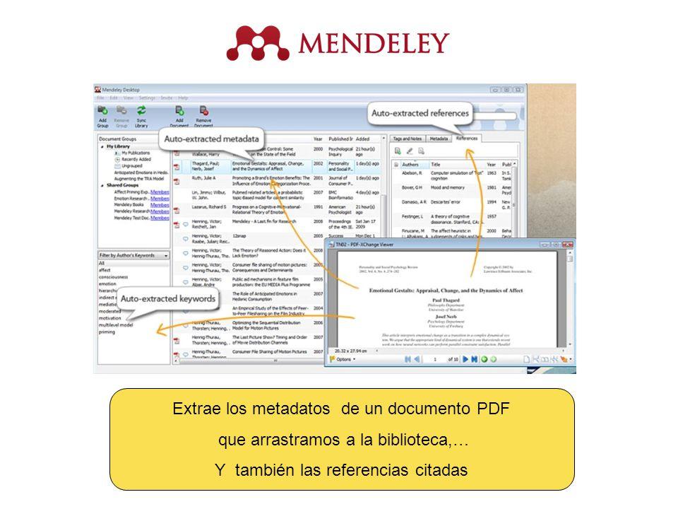 Extrae los metadatos de un documento PDF que arrastramos a la biblioteca,… Y también las referencias citadas