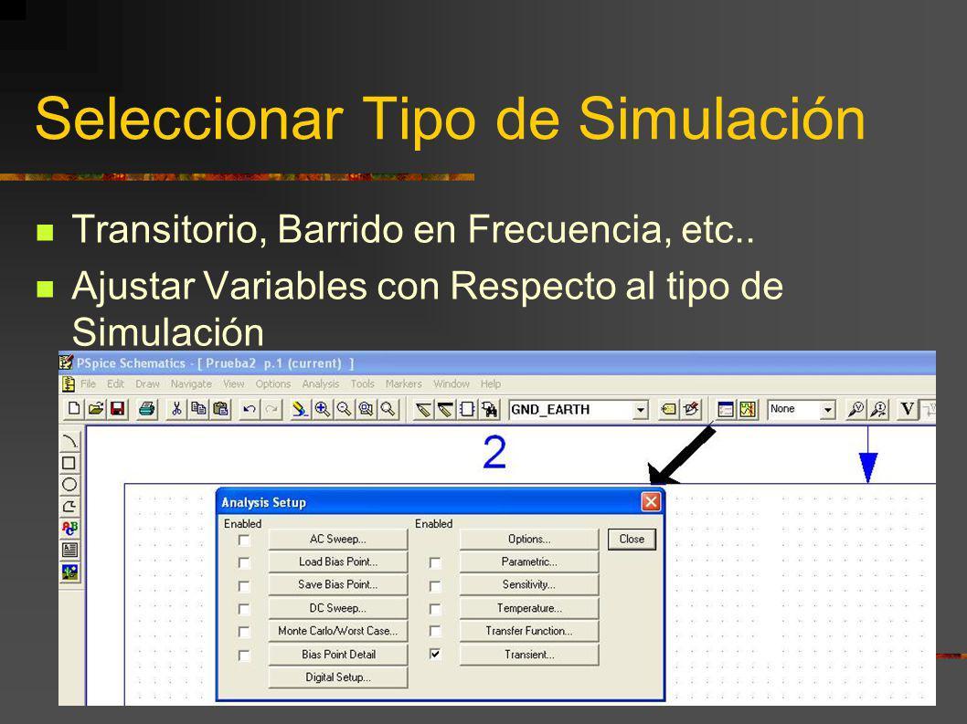 Seleccionar Tipo de Simulación Transitorio, Barrido en Frecuencia, etc.. Ajustar Variables con Respecto al tipo de Simulación