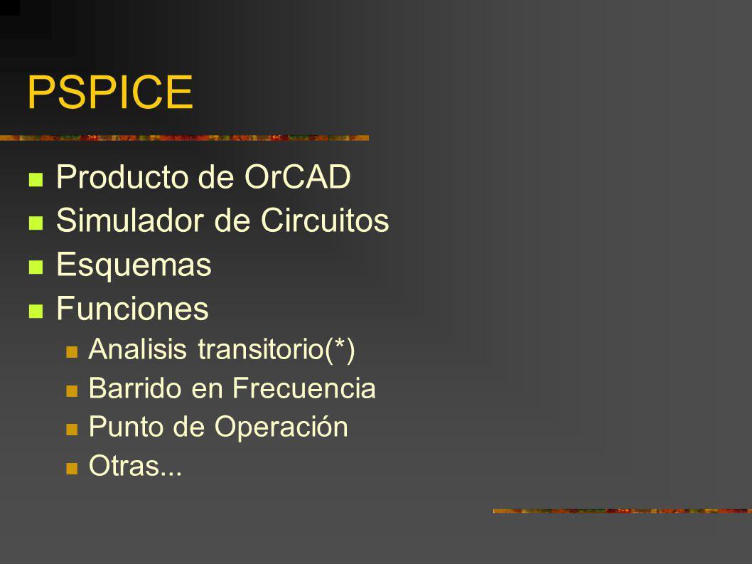 PSPICE Producto de OrCAD Simulador de Circuitos Esquemas Funciones Analisis transitorio(*) Barrido en Frecuencia Punto de Operación Otras...