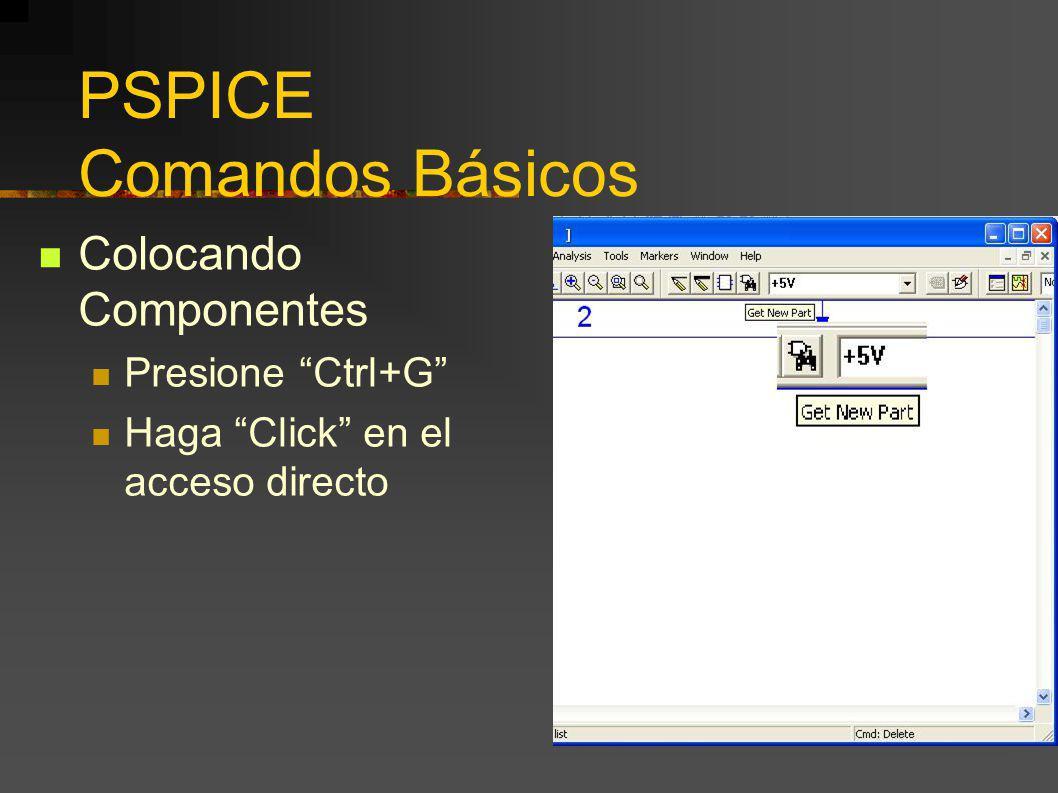 PSPICE Comandos Básicos Colocando Componentes Presione Ctrl+G Haga Click en el acceso directo