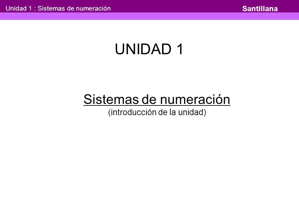Unidad 1 : Sistemas de numeración Santillana Sistemas de numeración (introducción de la unidad) UNIDAD 1