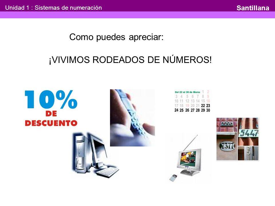 Unidad 1 : Sistemas de numeración Santillana Como puedes apreciar: ¡VIVIMOS RODEADOS DE NÚMEROS!