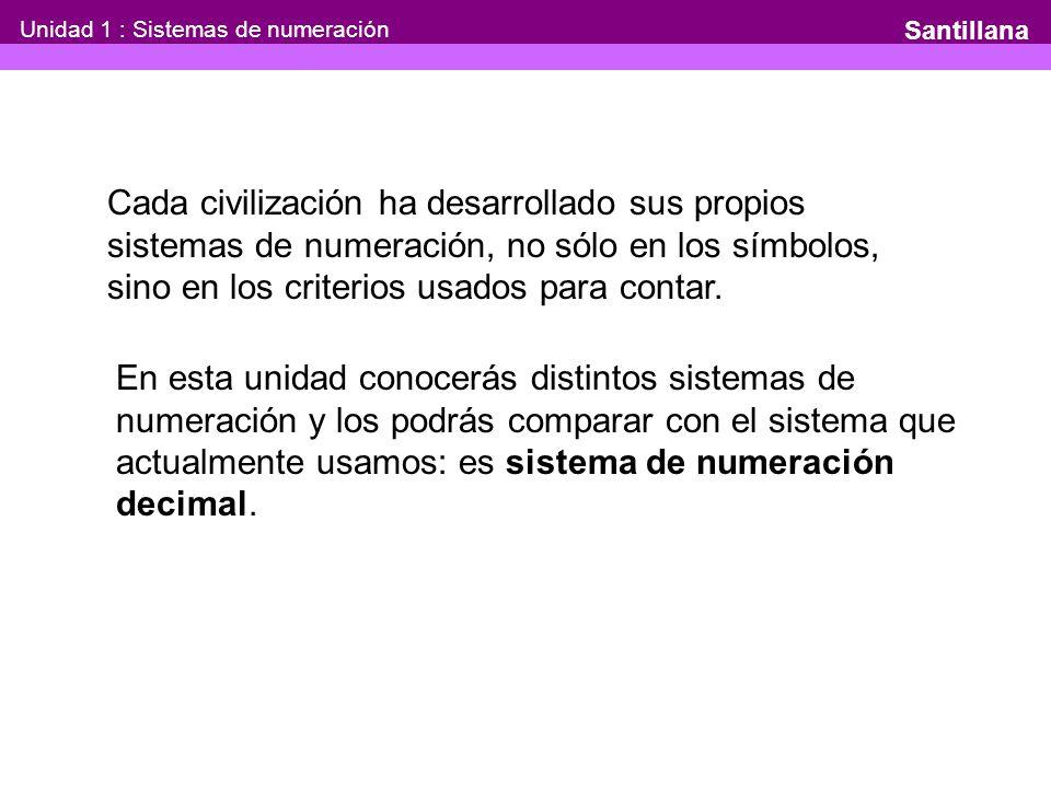 Unidad 1 : Sistemas de numeración Santillana Cada civilización ha desarrollado sus propios sistemas de numeración, no sólo en los símbolos, sino en los criterios usados para contar.