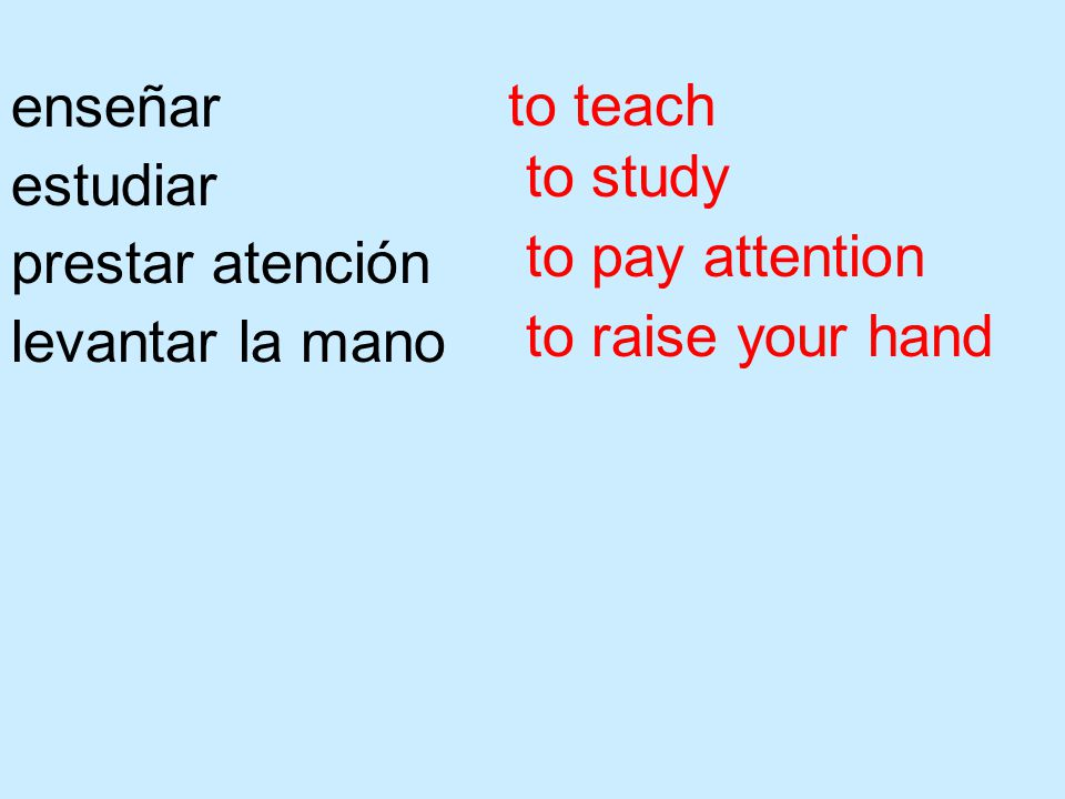 enseñar estudiar prestar atención levantar la mano to teach to study to pay attention to raise your hand