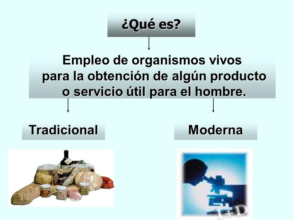 ¿Qué es? Empleo de organismos vivos para la obtención de algún producto para la obtención de algún producto o servicio útil para el hombre. o servicio
