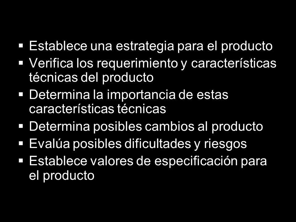 Establece una estrategia para el producto Verifica los requerimiento y características técnicas del producto Determina la importancia de estas caracte