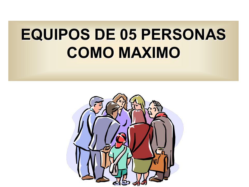 EQUIPOS DE 05 PERSONAS COMO MAXIMO