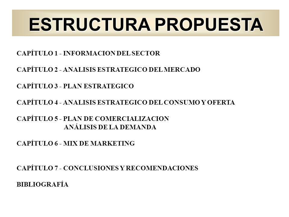 ESTRUCTURA PROPUESTA CAPÍTULO 1 - INFORMACION DEL SECTOR CAPÍTULO 2 - ANALISIS ESTRATEGICO DEL MERCADO CAPÍTULO 3 - PLAN ESTRATEGICO CAPÍTULO 4 - ANAL
