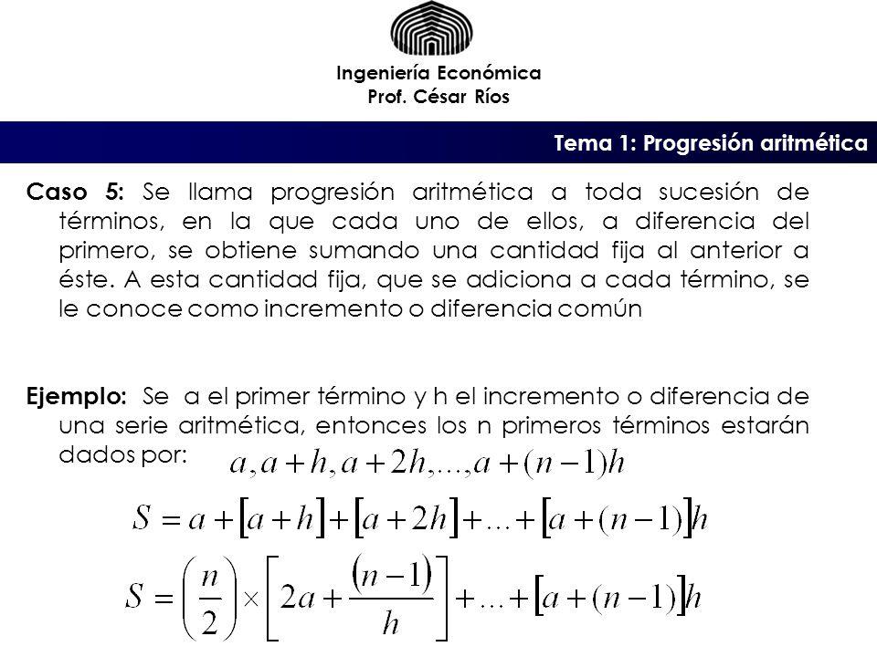 Tema 1: Progresión aritmética Ingeniería Económica Prof.