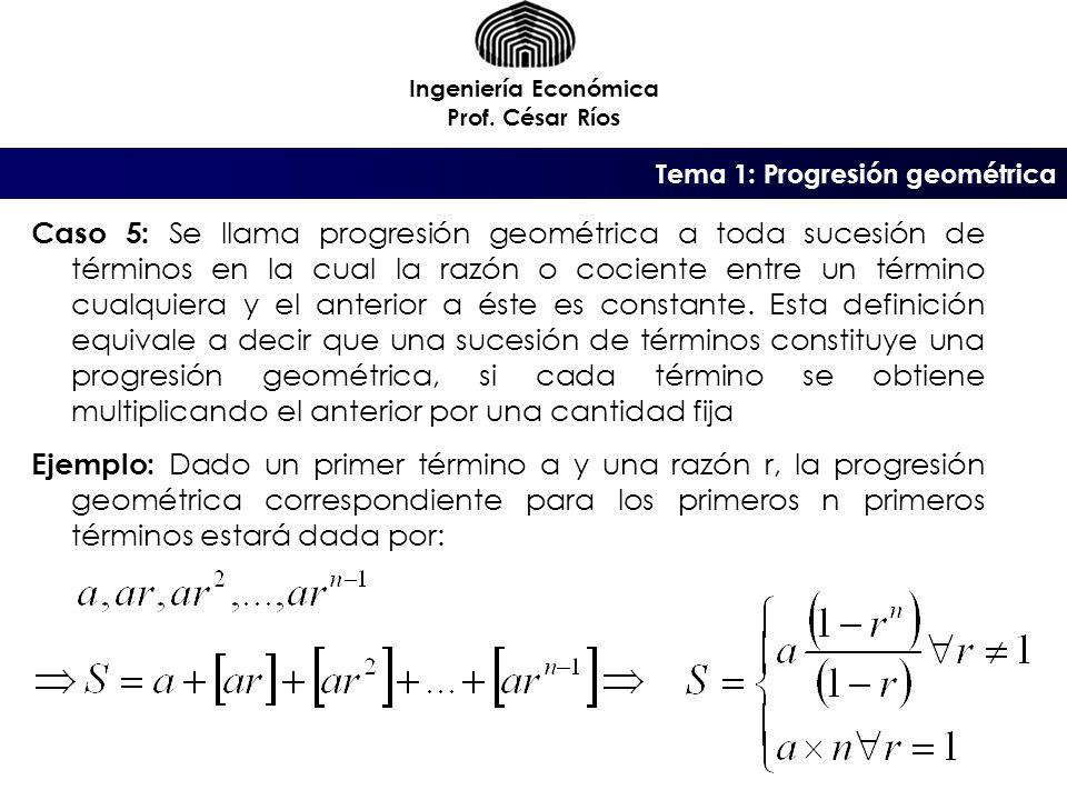 Tema 1: Progresión geométrica Ingeniería Económica Prof.