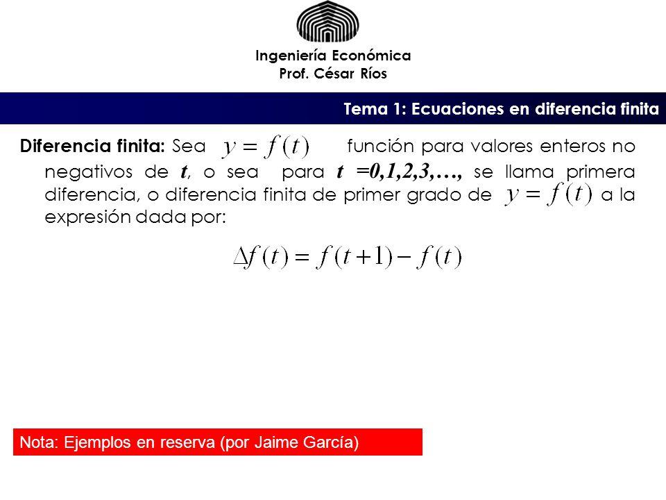 Tema 1: Ecuaciones en diferencia finita Ingeniería Económica Prof.