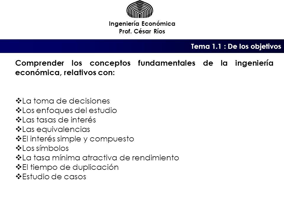 Tema 1.1 : De los objetivos Ingeniería Económica Prof.