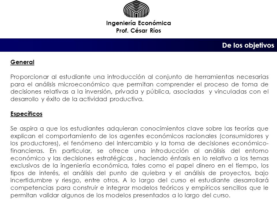 Tema 1.9 : Tasa mínima atractiva de rendimiento Ingeniería Económica Prof.