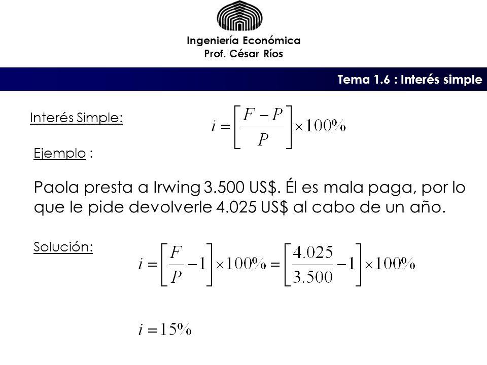 Tema 1.6 : Interés simple Ingeniería Económica Prof.