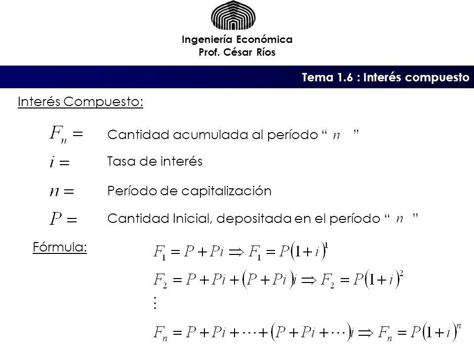 Tema 1.6 : Interés compuesto Ingeniería Económica Prof.