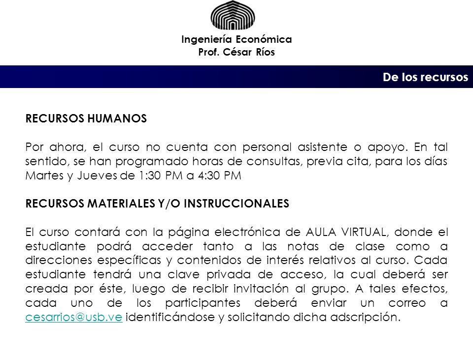 De la evaluación Ingeniería Económica Prof. César Ríos Tres (3) Exámenes (30% c/u) Asistencia (10%)
