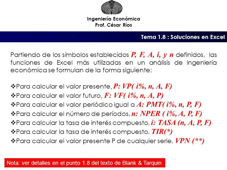 Tema 1.8 : Soluciones en Excel Ingeniería Económica Prof.