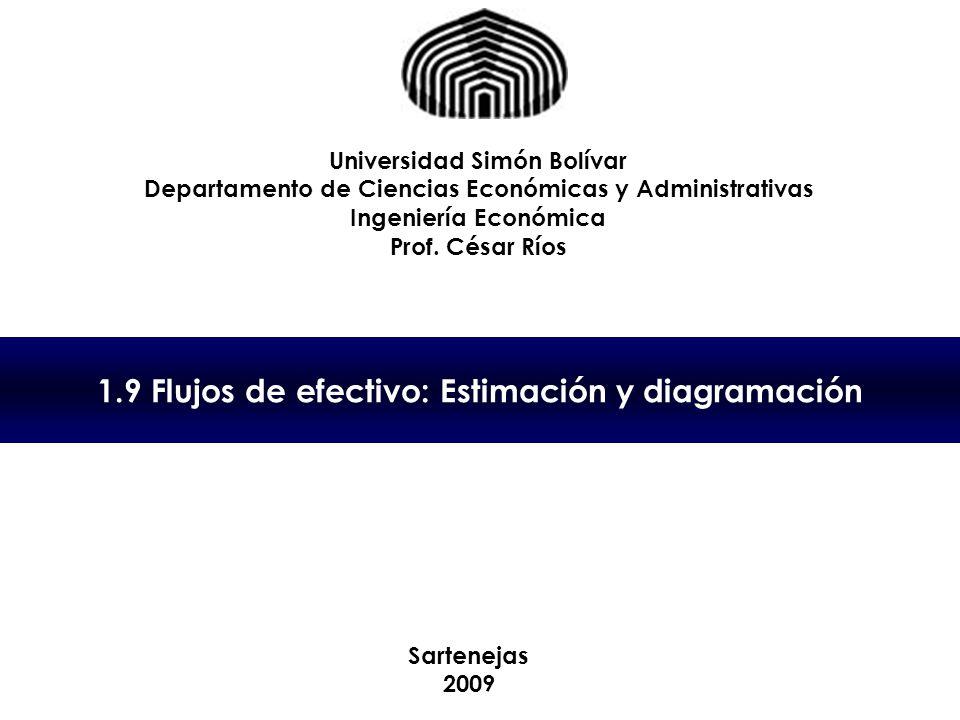 1.9 Flujos de efectivo: Estimación y diagramación Universidad Simón Bolívar Departamento de Ciencias Económicas y Administrativas Ingeniería Económica Prof.