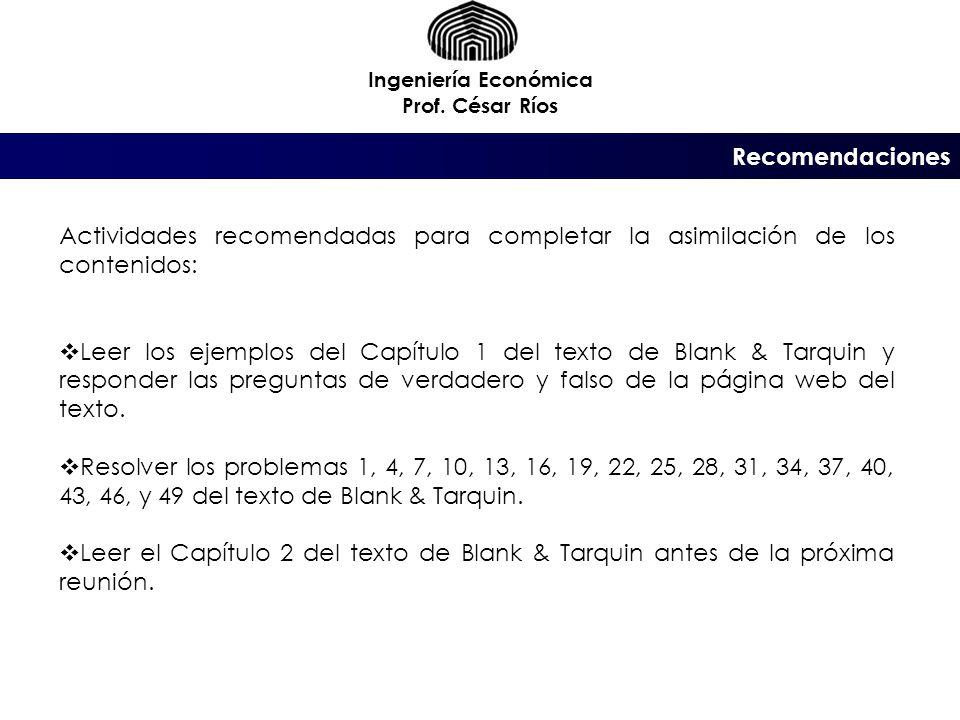 Recomendaciones Ingeniería Económica Prof.