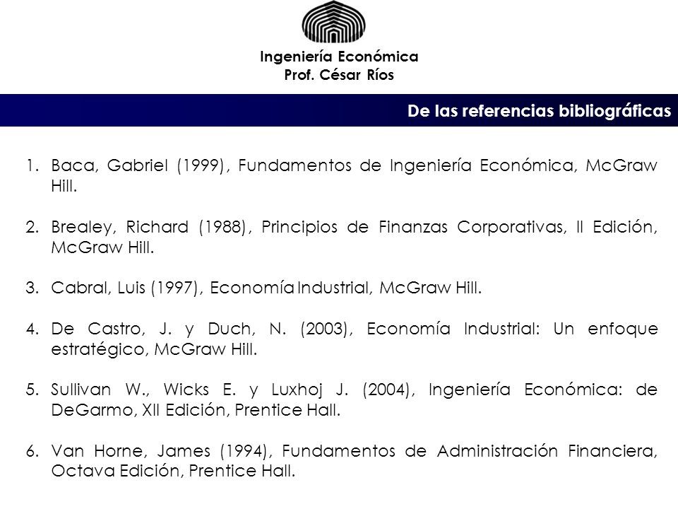 Ingeniería Económica Prof.
