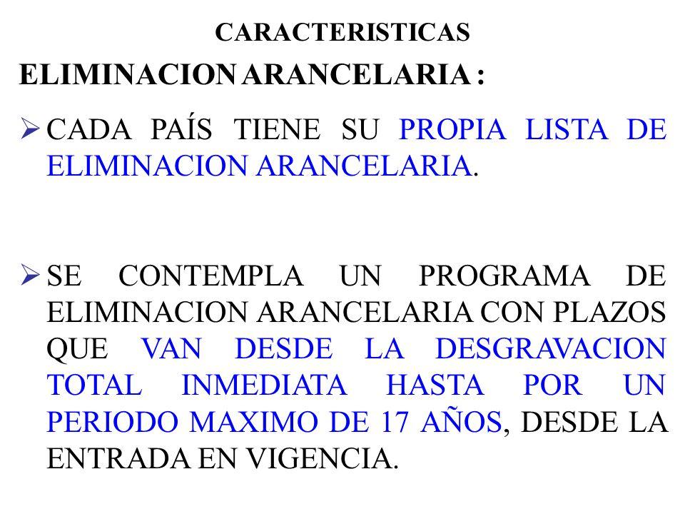 CARACTERISTICAS ZONA DE LIBRE COMERCIO (Capítulo 1) LAS PARTES HAN ACORDADO CONFORMAR UNA ZONA DE LIBRE COMERCIO. ELIMINACION ARANCELARIA (Capítulo 2,