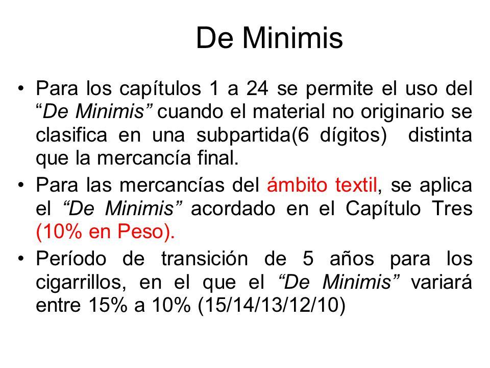 De Minimis La mercancía será considerada originaria aun cuando no todos los materiales no originarios cumplan con el cambio de clasificación requerido