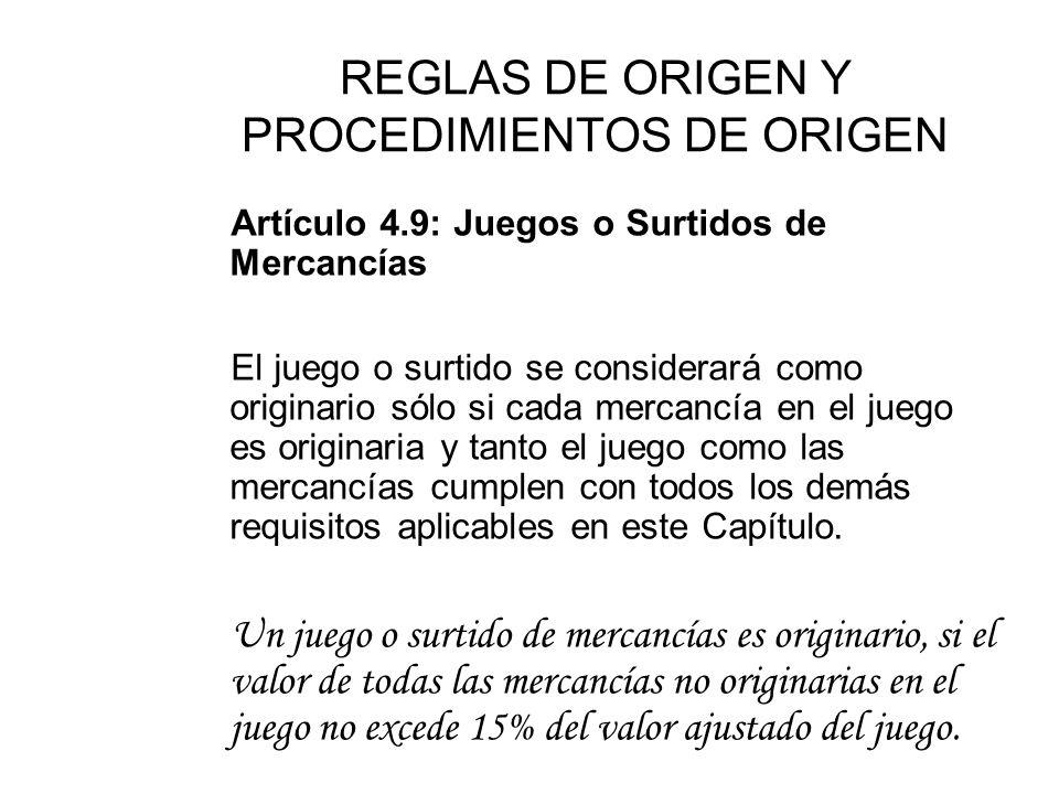 REGLAS DE ORIGEN Y PROCEDIMIENTOS DE ORIGEN Artículo 4.8: Accesorios, Repuestos y Herramientas Cada Parte dispondrá que los accesorios, repuestos o he
