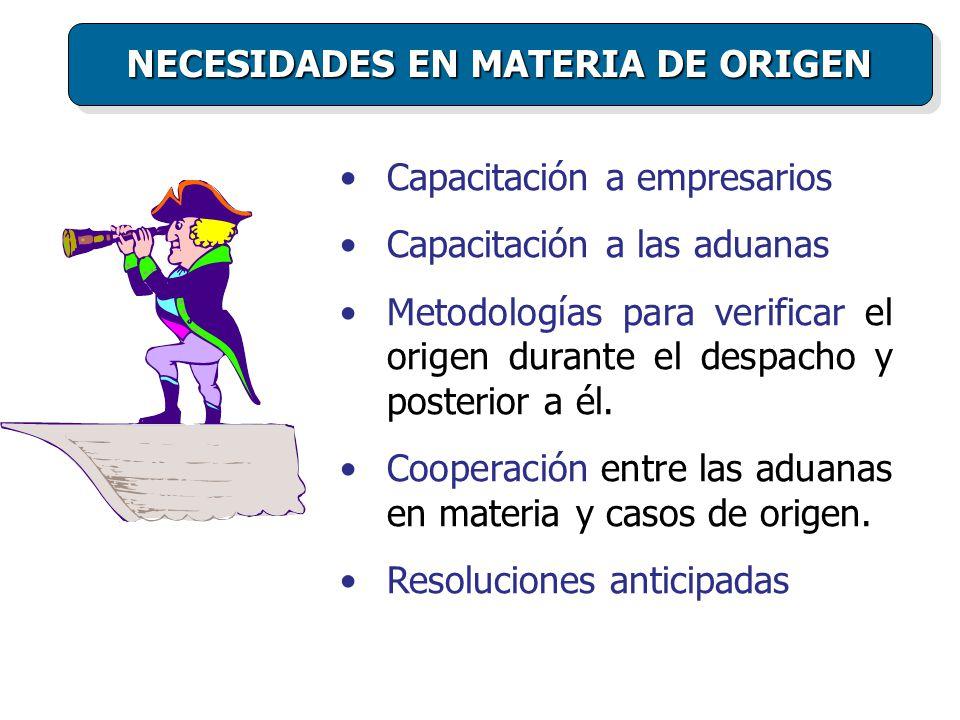 Capacitación a empresarios Capacitación a las aduanas Metodologías para verificar el origen durante el despacho y posterior a él.