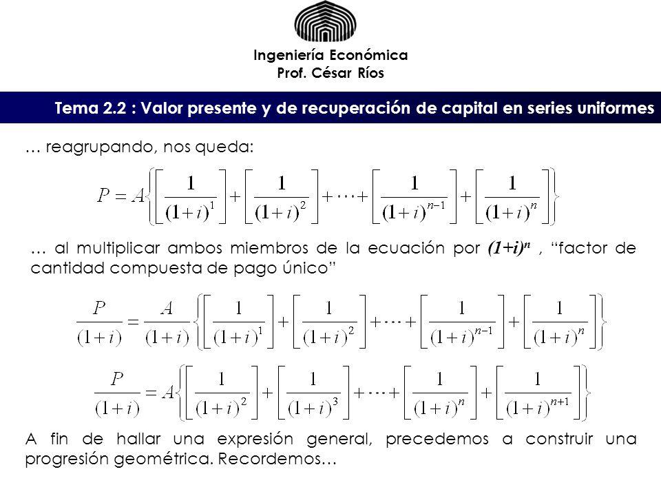 Tema 2.2 : Valor presente y de recuperación de capital en series uniformes Ingeniería Económica Prof. César Ríos … al multiplicar ambos miembros de la
