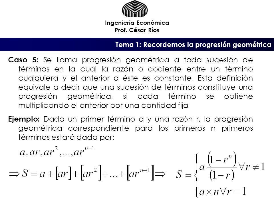 Tema 1: Recordemos la progresión geométrica Ingeniería Económica Prof. César Ríos Caso 5: Se llama progresión geométrica a toda sucesión de términos e