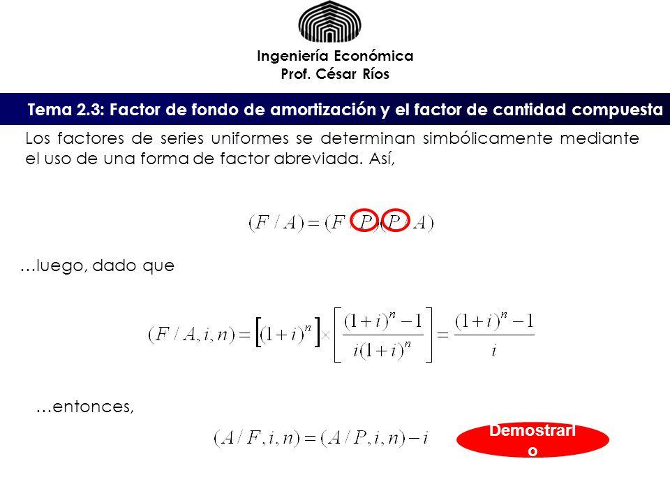 Ingeniería Económica Prof. César Ríos Los factores de series uniformes se determinan simbólicamente mediante el uso de una forma de factor abreviada.