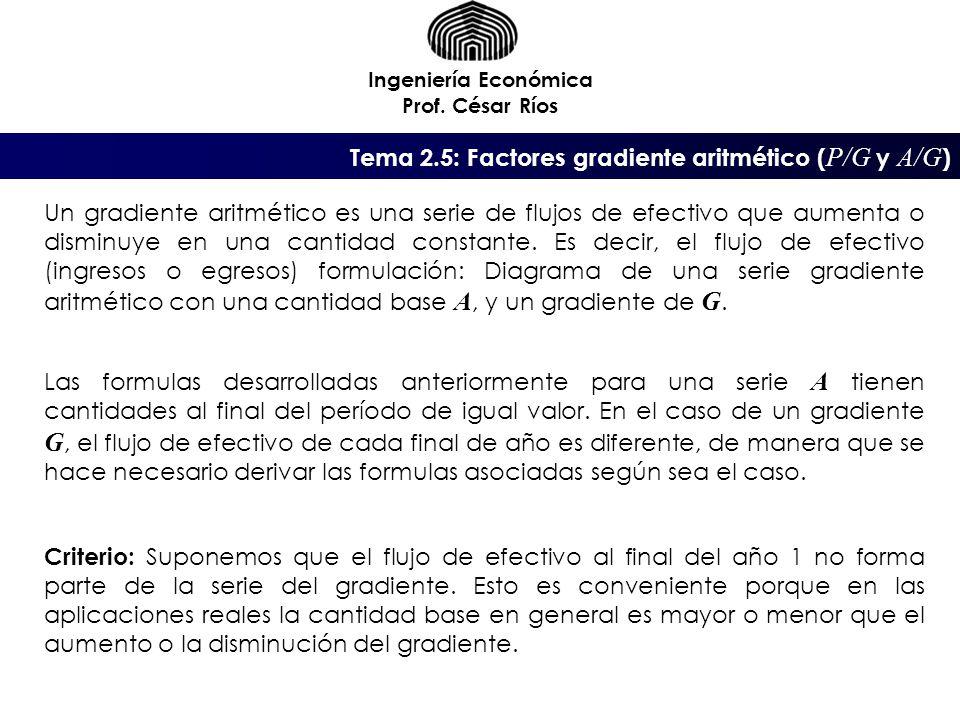 Tema 2.5: Factores gradiente aritmético ( P/G y A/G ) Ingeniería Económica Prof. César Ríos Un gradiente aritmético es una serie de flujos de efectivo