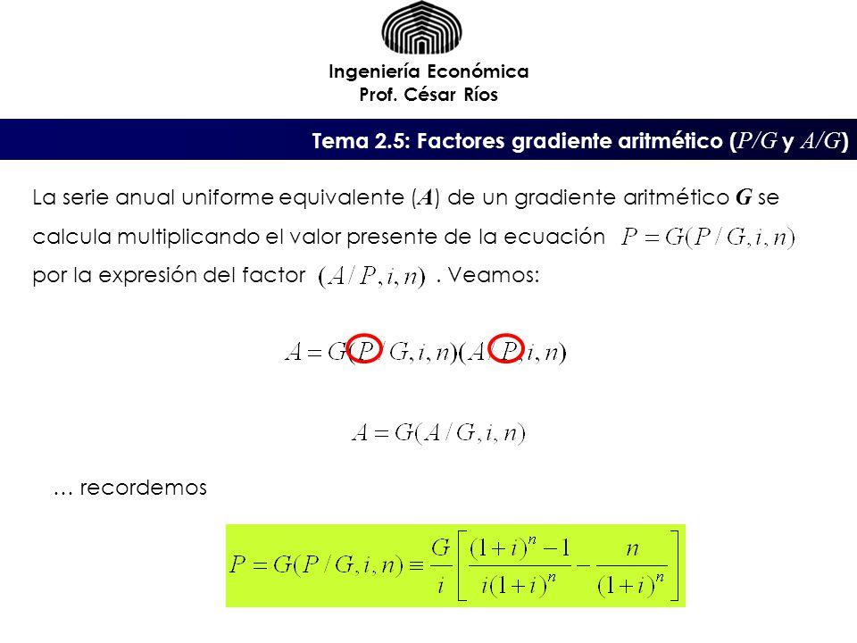 Ingeniería Económica Prof. César Ríos La serie anual uniforme equivalente ( A ) de un gradiente aritmético G se calcula multiplicando el valor present