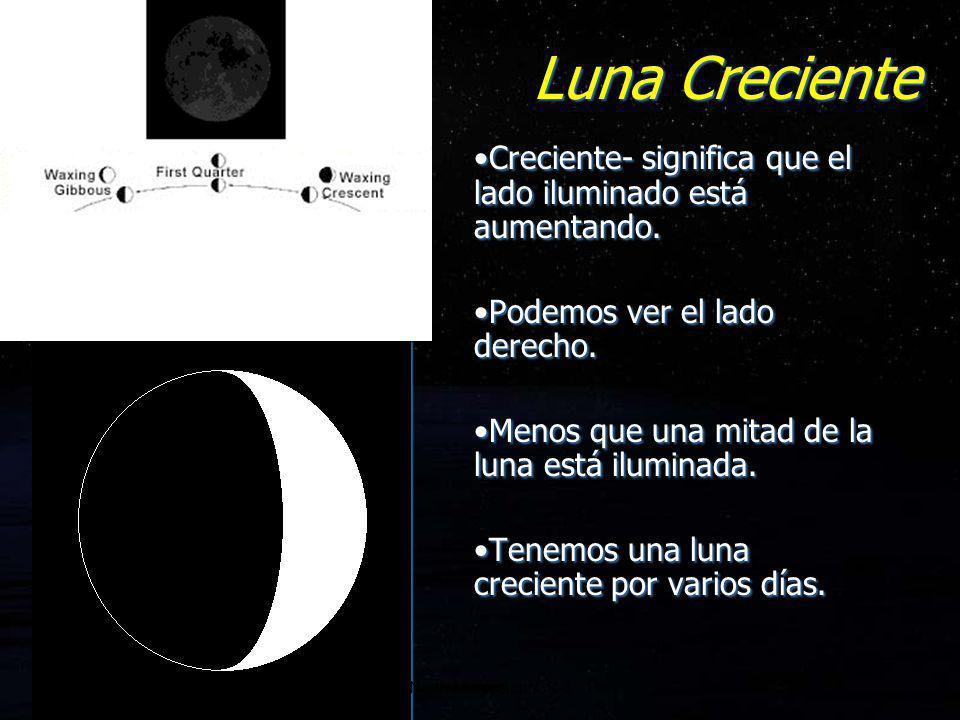 Luna Creciente Creciente- significa que el lado iluminado está aumentando. Podemos ver el lado derecho. Menos que una mitad de la luna está iluminada.