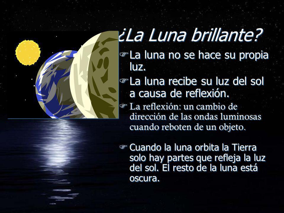¿La Luna brillante? FLa luna no se hace su propia luz. FLa luna recibe su luz del sol a causa de reflexión. La reflexión: un cambio de dirección de la